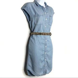 L.O.G.G. Denim Button Down Sleeveless Dress